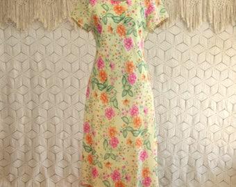 90s Yellow Floral Dress Women Medium Chiffon Midi Garden Party Tea Dress Short Sleeve Womens Dresses 1990s Vintage Clothing Womens Clothing