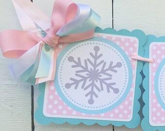 Winter Onederland High Chair Banner Snowflake High Chair Banner Girl's First Birthday Idea