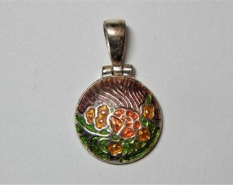Beautiful Vintage 925 Sterling Enameled Flower Pendant - 925 Enameled Flower - Sterling Flower - Orange Green Enameled 925 Flower Pendant