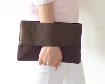Bronze brown and gold evening bag, evening clutch, wrist wallet, handbag, pouch bag, wallet purse, mylmelo, unique gift, Xmas, Christmas