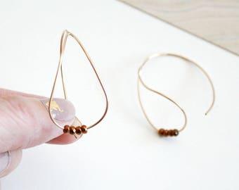 Hematite Gem Teardrop Hoop Earrings - 14K Gold Filled Wire Hoop Earrings -Teardrop Shaped Hoop Earrings