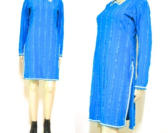 80s Vintage Blue Sequin Dress Bodycon Flower Embellished Ethnic Fitted  Long Sleeve Vtg 1980s S-L