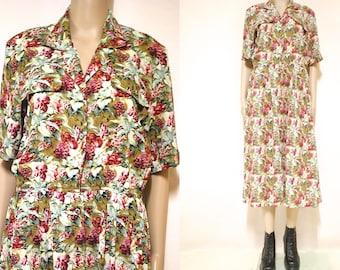 Vintage 80s Floral dress Mid Length Retro Hippie Button Up Short Sleeves Vtg 1980s Size S-M