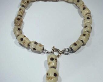 Handmade skull bracelet sterling silver bracelet 18k gold skulls shape bone beads creepy Gothic bracelet