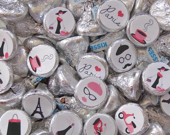 Paris Party, Candy Stickers, Kiss Labels, Paris Party Favors, Eiffel Tower, Printed Stickers