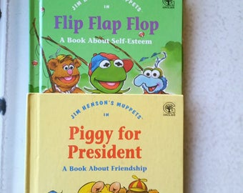 1992 Jim Henson's Muppets Set of 3 Books: Piggy for President, Flip Flap Flop, and Something Special. Set of 3 Muppet's Books, The Muppets