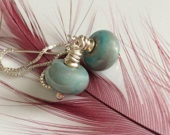 Green Glass Threader Earrings   Lampwork Glass Earrings   Long Dangle Earrings   Sterling Ear Threads   Sterling Silver Earrings