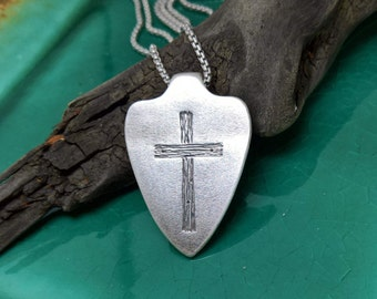 Shield of faith etsy mens shield necklace mens cross necklace sterling silver shield of faith rustic aloadofball Images