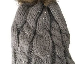 Grey Chunky Knit Sequined Bobble Hat , Brown Faux Fur Pom Pom Hat, Gray Hat