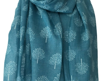 Blue scarf with a White Tree Print, Turquoise Blue Trees Wrap Shawl