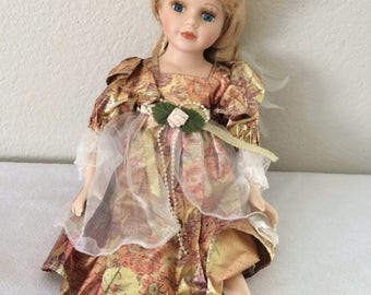 Vintage Wondertreats Porcelain Doll  Blonde Hair Blue Eyes Autumn Dress Fairy  15""