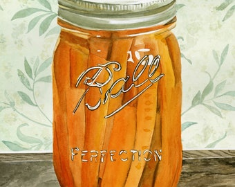 Canned Carrots Watercolor Illustration Signed Giclee Print
