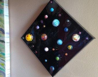 "Space Art. Glow art. Space decor. Unique gift. Wall art. 3D art. Kids room. Glow in the dark. 10"" x 10"""