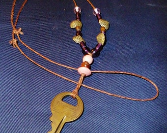 "Masterlock Vintage Industrial Key Necklace--25"" Loop with Genuine Vintage Key"