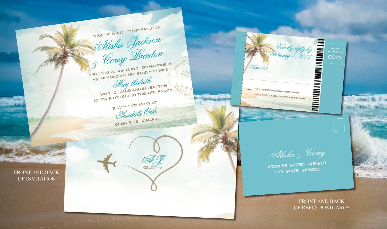 Beach Ceremony Wedding Invites In Turquouise Gold