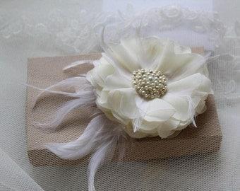 Bridal Flower Hair Clip -Wedding Hairpiece -Ivory Flower Hair Clip -Flower for Hair -Flower with Feathers -Bridal Hair Accessories