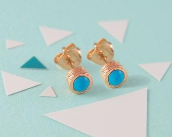 Rose Gold Turquoise Earrings, December Earrings, Turquoise Studs, December Birthstone, Rose Gold Studs, Organic Earrings, Simple Studs, Boho