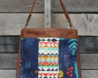 Crossbody Bag, Navy Fern, Genuine Leather, Everyday Purse, Shoulder Bag, Adjustable Strap