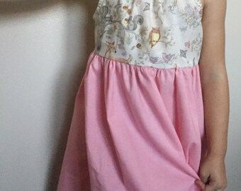 Woodland animals dress, toddler dress, girls dress, Sizes 2, 3, 4, 5, 6, 7, 8, pink dress toddler, zoo theme dress