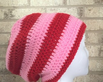 Ready To Ship Slouchy Hat Slouchy Beanie Valentine's Day Crochet Hat Beanie Women's Pink and Red Crochet Hat