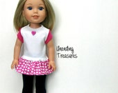 14 inch doll clothes AG doll clothes Valentines gift top and navy capris made to fit like wellie wishers doll clothes