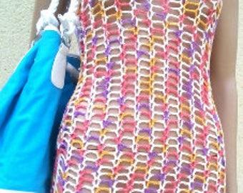 Mottled pink cotton Beach dress pattern. For crocheteuses confirmed.