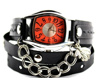 Black Leather Wrap Watch with Silver Bee Charm, Leather Watch for Women, Black Wrap Watch, Leather Gift