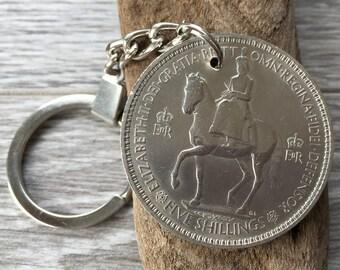 Coronation keyring, british Royal family, crown coin, coronation of Queen Elizabeth II in 1953, 64th birthday gift, keychain, keyfob