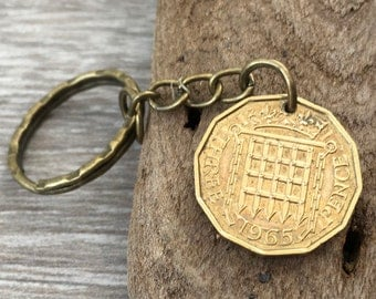 52nd birthday gift, 1965 coin keychain, English brass three penny piece keyring, gift for him, British gift for a man, England, English