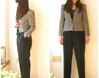 Vintage Austin Reed High Waisted Black Wool Pants / Womens Wool Trousers Small