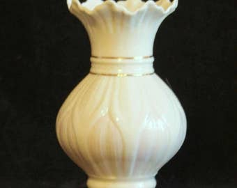 Belleek Lotus Vase, Irish, Parian Ware, Collectible