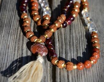 Garnet, Goldstone and Quartz  Mala Necklace (108 Stone, 6 & 8mm)