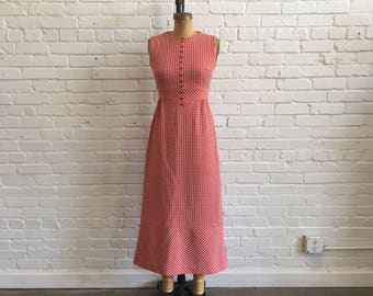 1970s Gingham Maxi Dress // 70s Red White Gingham Dress // Vintage Picnic Maxi