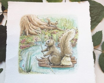 Squirrel Nutkin. Original watercolor Beatrix Potter stories illustrated by Charlotte Lyng - inktober