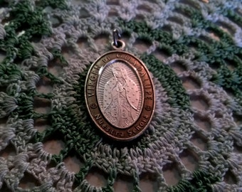 Virgin Mary pendant ~ Silver Virgin Mother Mary Catholic Pendant Charm