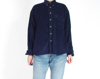 Vintage Fred Perry Navy Blue Corduroy Button Down Shirt / Size M