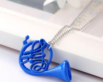 Blue French Horn Necklace or Keychain, Geekery, Geek Jewelry, Mother Gift, How I Met Your Mother Inspired, Blue French Horn Gift, HIMYM