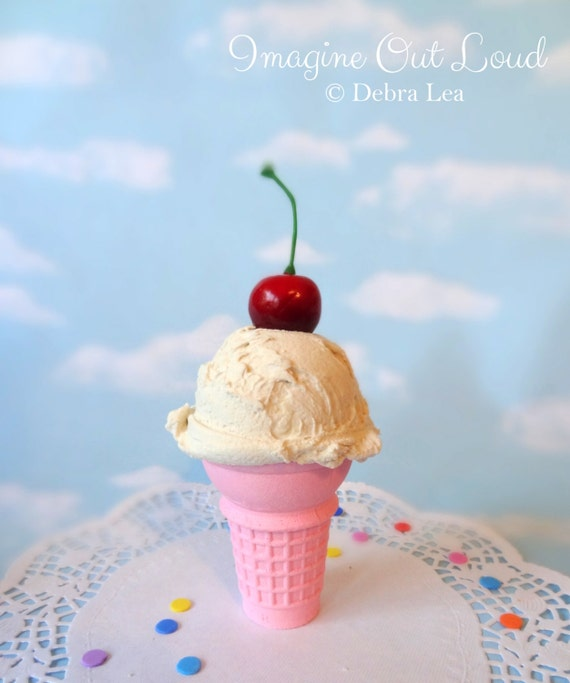 Fake Ice Cream Vanilla Cherry Realistic Faux Scoop Pink Cone Prop Decor