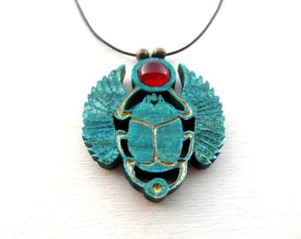 SCARAB pendant / Kheper/ handcarved on maple wood / with red agate