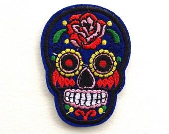 Navy Blue Sugar Skull Day of the Dead Iron On Appliqué Patches - 71mm - Rockabilly - Retro - DIY - Dia de los Muertos - Rose