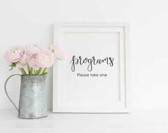 Wedding Programs Printable. Wedding Ceremony Sign. Programs Wedding Sign, Programs Calligraphy print, DIY Wedding Sign. Instant Download.