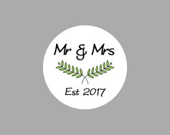 35 Personalised Mr & Mrs stickers.