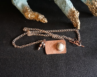 CLEARANCE: Hammered copper pendant with sterling silver accents and rose gold tone chain