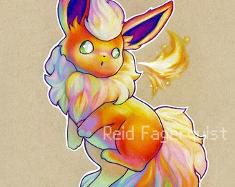 Colorful Flareon art PRINT