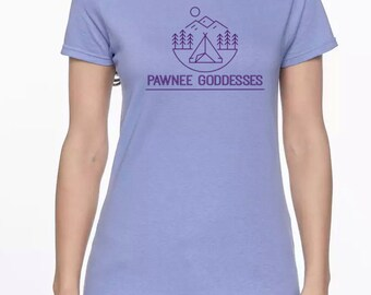 """Pawnee Goddess camping shirt for women   **Add FOUR - 1"""" buttons!**  to this Parks and Recreation tee"""