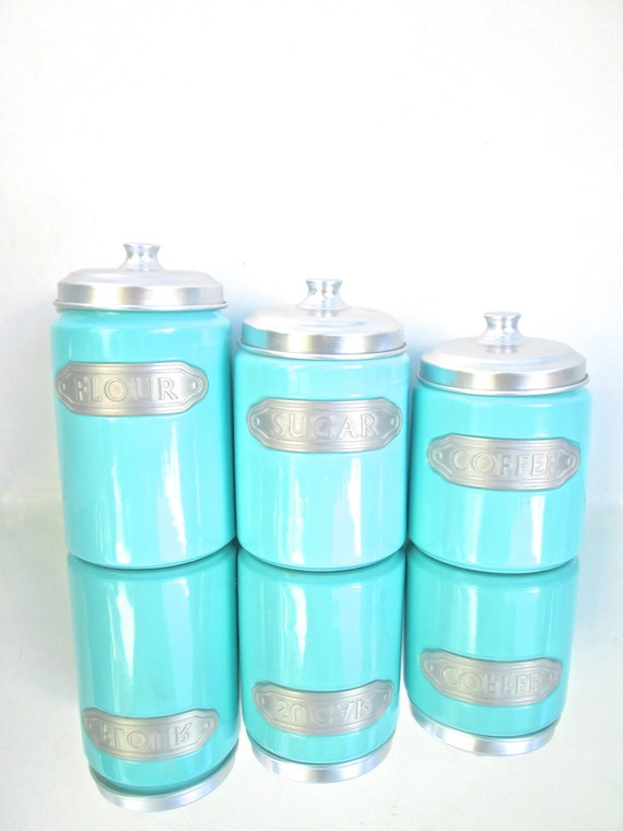 set of 3 retro turquoise ceramic kitchen canisters flour