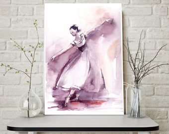 Ballerina Painting, Original Watercolor Painting, Purple Ballet Painting, Watercolour Modern Art