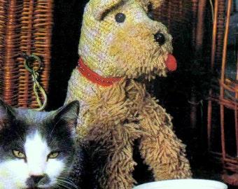 INSTANT DOWNLOAD PDF  Vintage Crochet Pattern  Schnauser Dog  Retro 1970s Soft Toy Animal Pet Door Stop