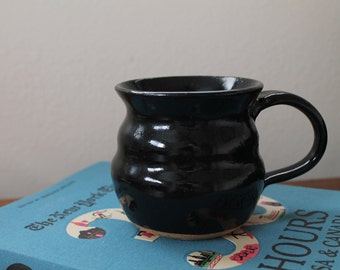 BLACK COFFEE MUG -  handmade pottery, great for coffee, tea, latte, espresso or anything else!