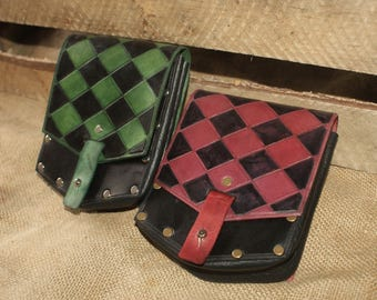 Leather 'Jasper' Pouch with Harlequin Pattern